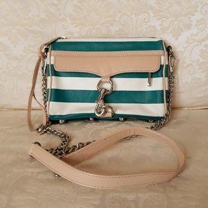 Rebecca minkoff green striped small crossbody bag